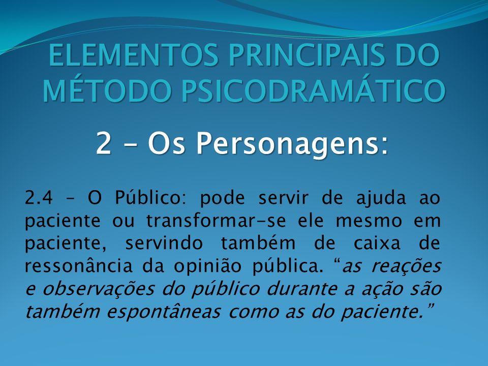 2 – Os Personagens: ELEMENTOS PRINCIPAIS DO MÉTODO PSICODRAMÁTICO 2.4 – O Público: pode servir de ajuda ao paciente ou transformar-se ele mesmo em pac