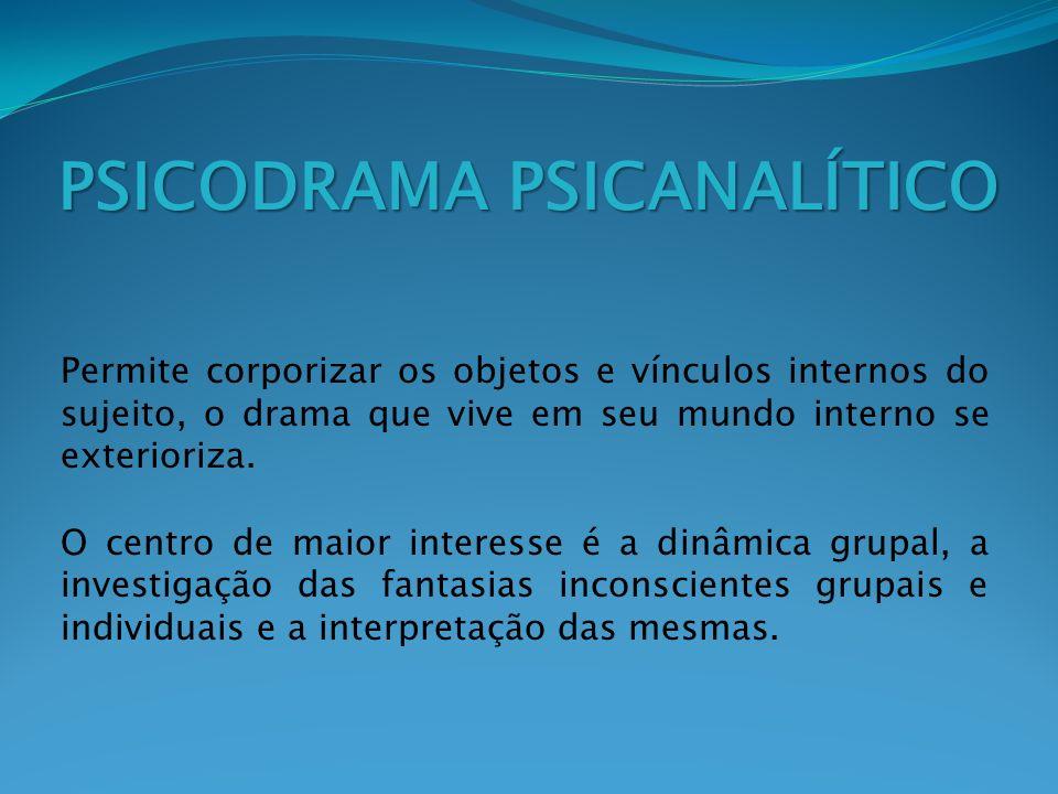 PSICODRAMA PSICANALÍTICO Permite corporizar os objetos e vínculos internos do sujeito, o drama que vive em seu mundo interno se exterioriza. O centro