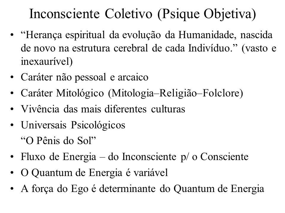 Inconsciente Coletivo (Psique Objetiva) Herança espiritual da evolução da Humanidade, nascida de novo na estrutura cerebral de cada Indivíduo. (vasto