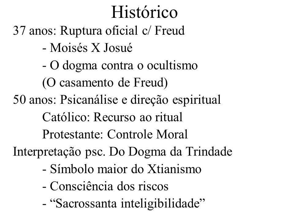 Histórico 37 anos: Ruptura oficial c/ Freud - Moisés X Josué - O dogma contra o ocultismo (O casamento de Freud) 50 anos: Psicanálise e direção espiri