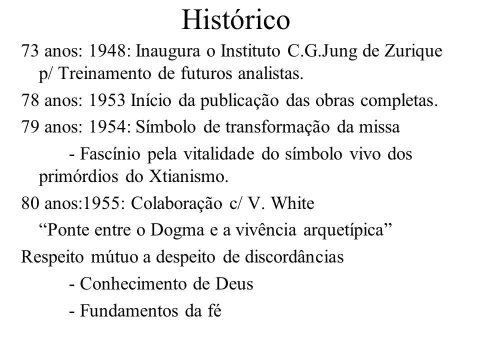 Histórico 73 anos: 1948: Inaugura o Instituto C.G.Jung de Zurique p/ Treinamento de futuros analistas. 78 anos: 1953 Início da publicação das obras co