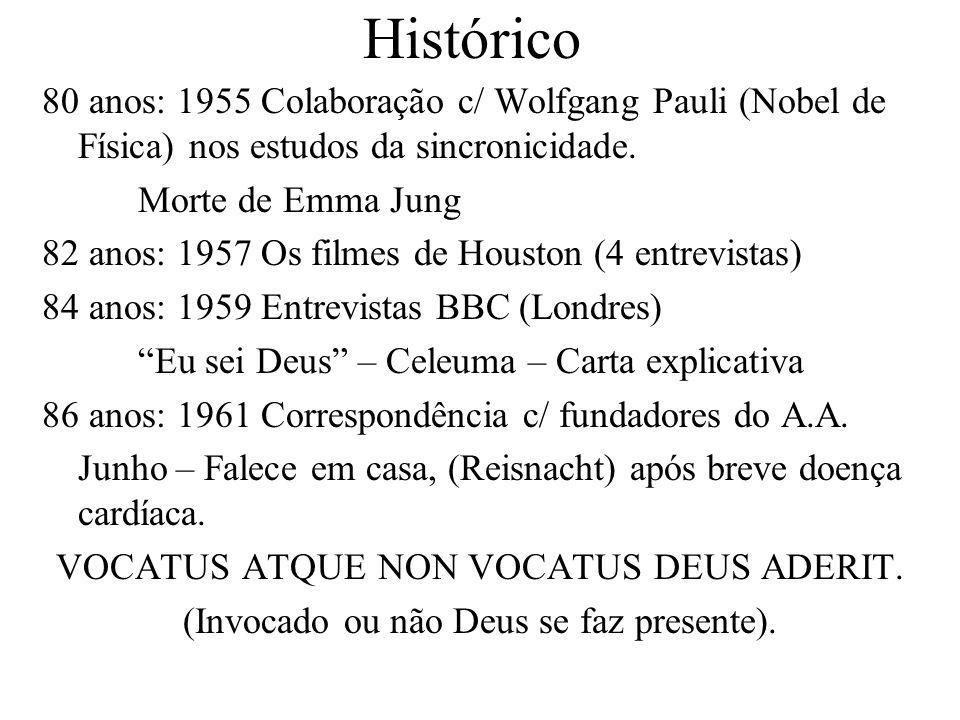 Histórico 80 anos: 1955 Colaboração c/ Wolfgang Pauli (Nobel de Física) nos estudos da sincronicidade. Morte de Emma Jung 82 anos: 1957 Os filmes de H