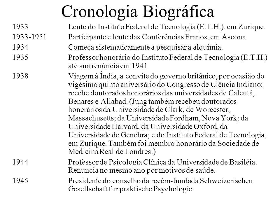 Cronologia Biográfica 1933Lente do Instituto Federal de Tecnologia (E.T.H.), em Zurique. 1933-1951Participante e lente das Conferências Eranos, em Asc