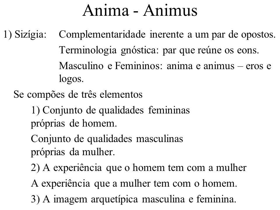 Anima - Animus 1) Sizígia:Complementaridade inerente a um par de opostos. Terminologia gnóstica: par que reúne os eons. Masculino e Femininos: anima e