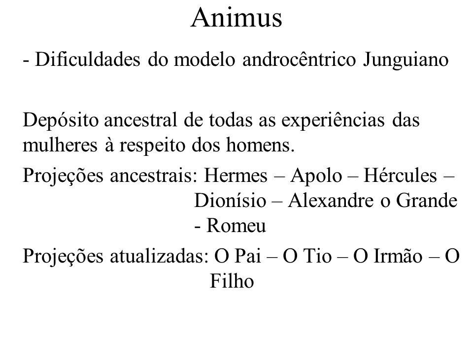 Animus - Dificuldades do modelo androcêntrico Junguiano Depósito ancestral de todas as experiências das mulheres à respeito dos homens. Projeções ance