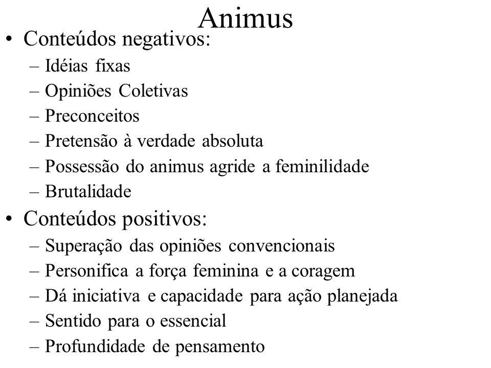 Animus Conteúdos negativos: –Idéias fixas –Opiniões Coletivas –Preconceitos –Pretensão à verdade absoluta –Possessão do animus agride a feminilidade –