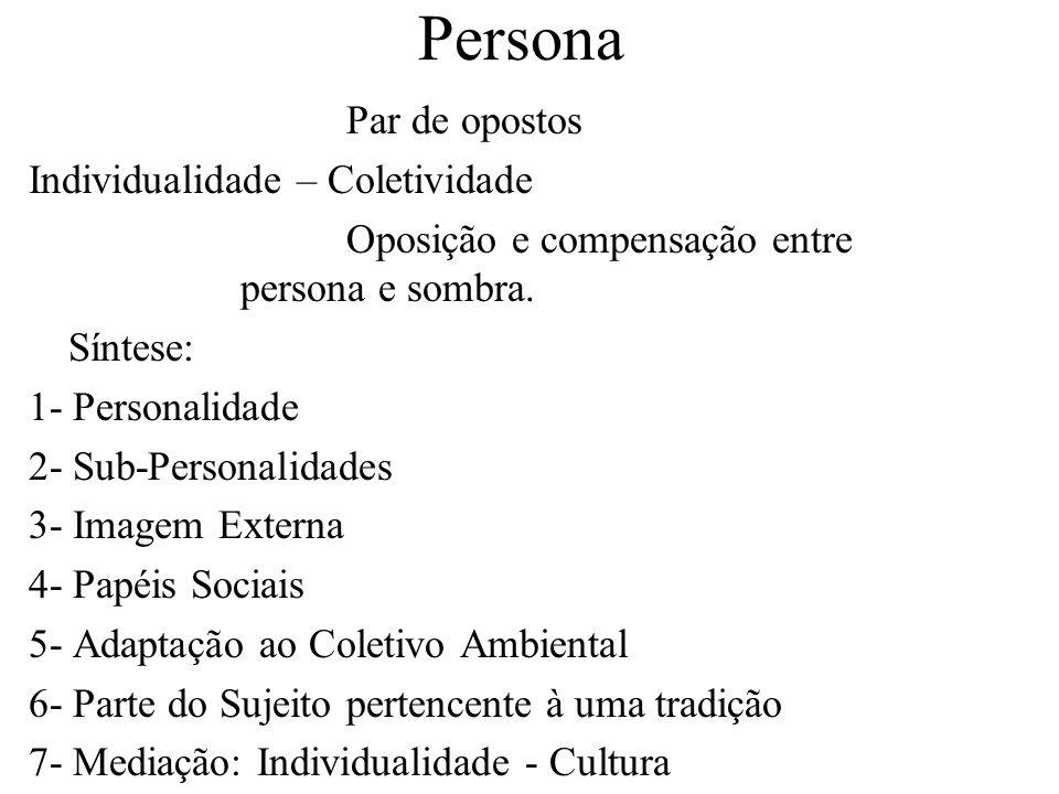 Persona Par de opostos Individualidade – Coletividade Oposição e compensação entre persona e sombra. Síntese: 1- Personalidade 2- Sub-Personalidades 3
