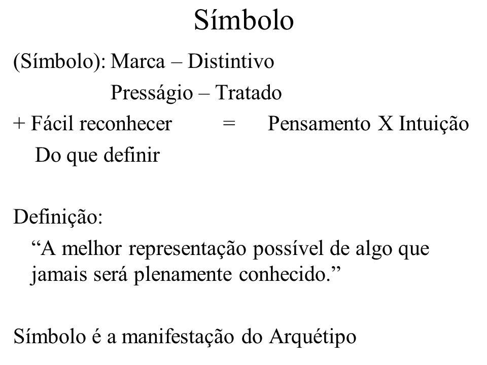 Símbolo (Símbolo):Marca – Distintivo Presságio – Tratado + Fácil reconhecer = Pensamento X Intuição Do que definir Definição: A melhor representação p