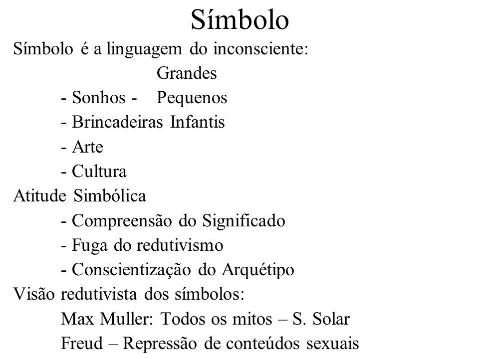 Símbolo Símbolo é a linguagem do inconsciente: Grandes - Sonhos - Pequenos - Brincadeiras Infantis - Arte - Cultura Atitude Simbólica - Compreensão do