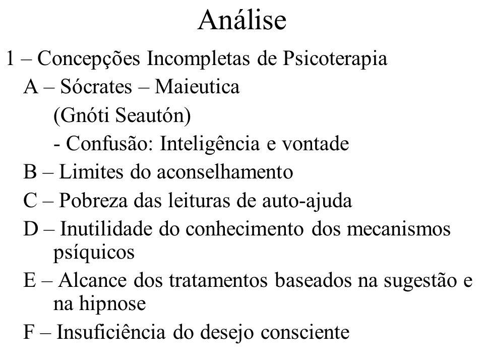 Análise 1 – Concepções Incompletas de Psicoterapia A – Sócrates – Maieutica (Gnóti Seautón) - Confusão: Inteligência e vontade B – Limites do aconselh