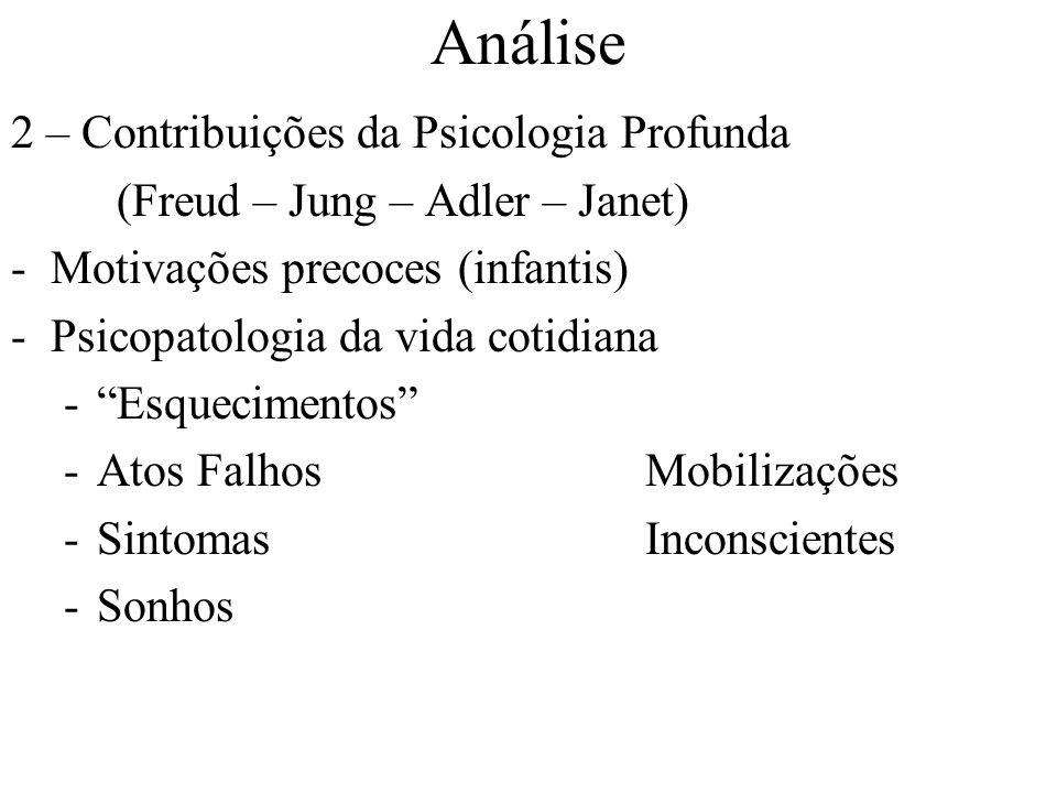 Análise 2 – Contribuições da Psicologia Profunda (Freud – Jung – Adler – Janet) -Motivações precoces (infantis) -Psicopatologia da vida cotidiana -Esquecimentos -Atos FalhosMobilizações -SintomasInconscientes -Sonhos