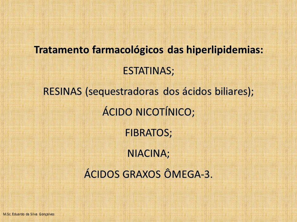 Tratamento farmacológicos das hiperlipidemias: ESTATINAS; RESINAS (sequestradoras dos ácidos biliares); ÁCIDO NICOTÍNICO; FIBRATOS;NIACINA; ÁCIDOS GRAXOS ÔMEGA-3.