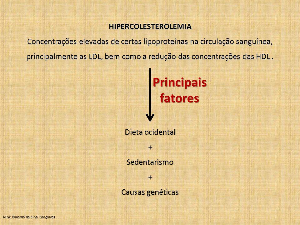 HIPERCOLESTEROLEMIA Concentrações elevadas de certas lipoproteínas na circulação sanguínea, principalmente as LDL, bem como a redução das concentrações das HDL.