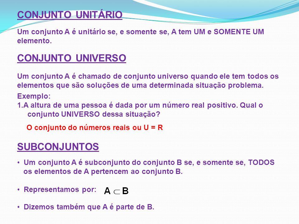 CONJUNTO UNITÁRIO Um conjunto A é unitário se, e somente se, A tem UM e SOMENTE UM elemento. CONJUNTO UNIVERSO Um conjunto A é chamado de conjunto uni