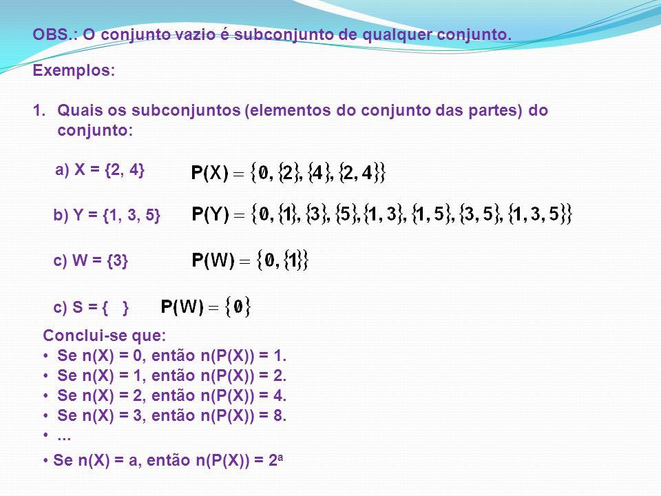 Exemplos: 1.Quais os subconjuntos (elementos do conjunto das partes) do conjunto: a) X = {2, 4} OBS.: O conjunto vazio é subconjunto de qualquer conju