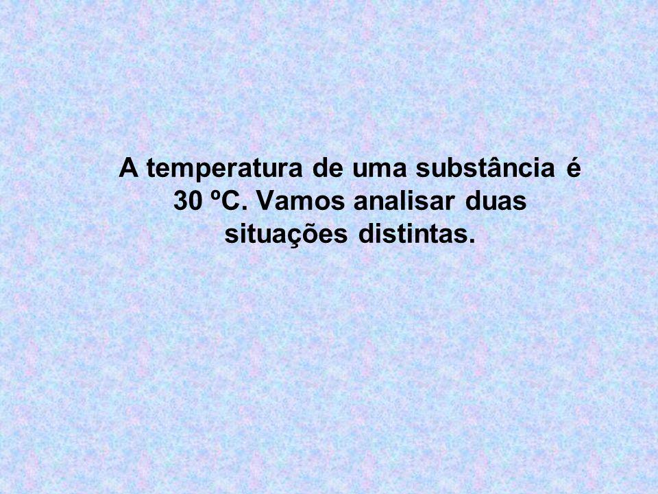 A temperatura de uma substância é 30 ºC. Vamos analisar duas situações distintas.