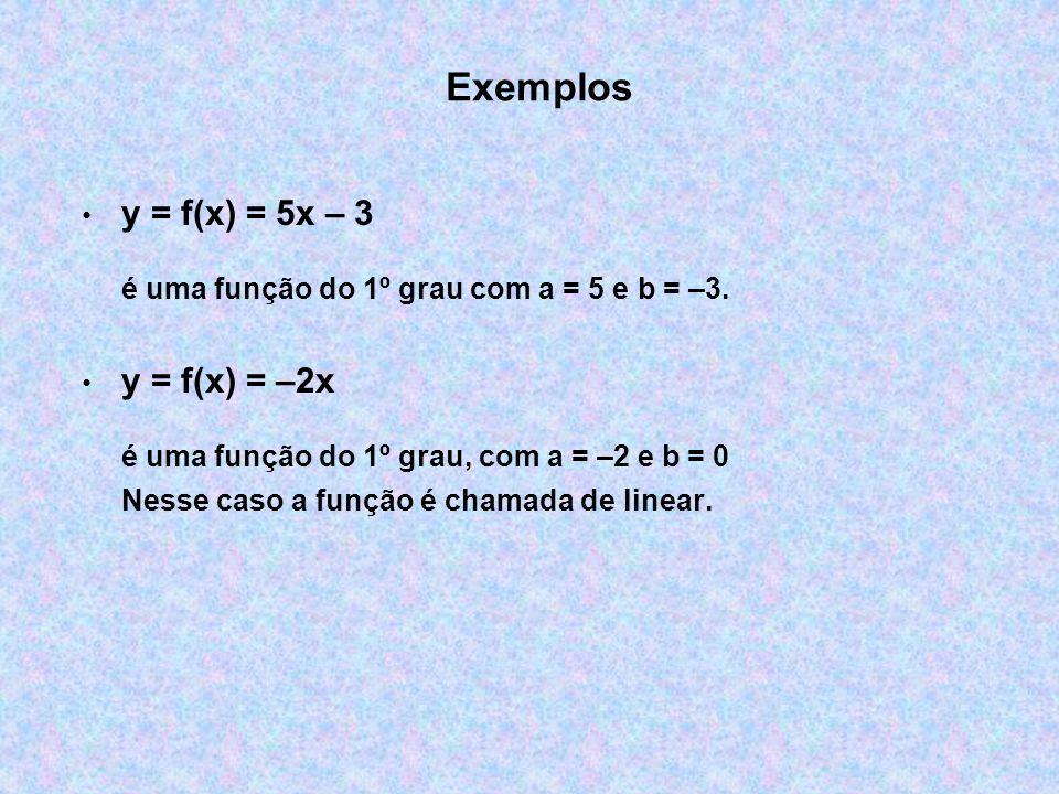 Exemplos y = f(x) = 5x – 3 é uma função do 1º grau com a = 5 e b = –3. y = f(x) = –2x é uma função do 1º grau, com a = –2 e b = 0 Nesse caso a função