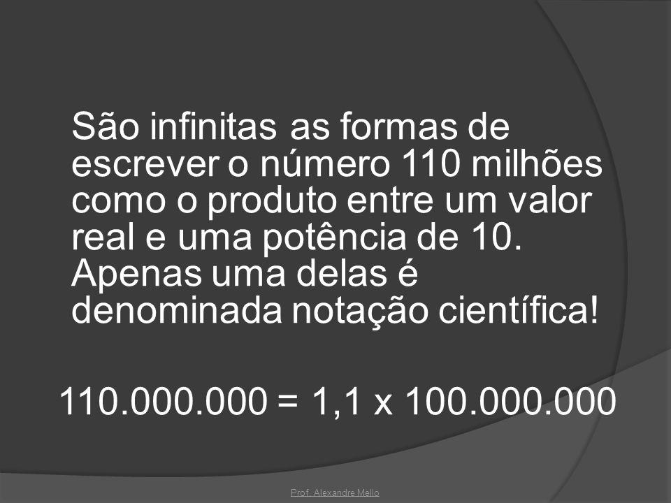 São infinitas as formas de escrever o número 110 milhões como o produto entre um valor real e uma potência de 10. Apenas uma delas é denominada notaçã