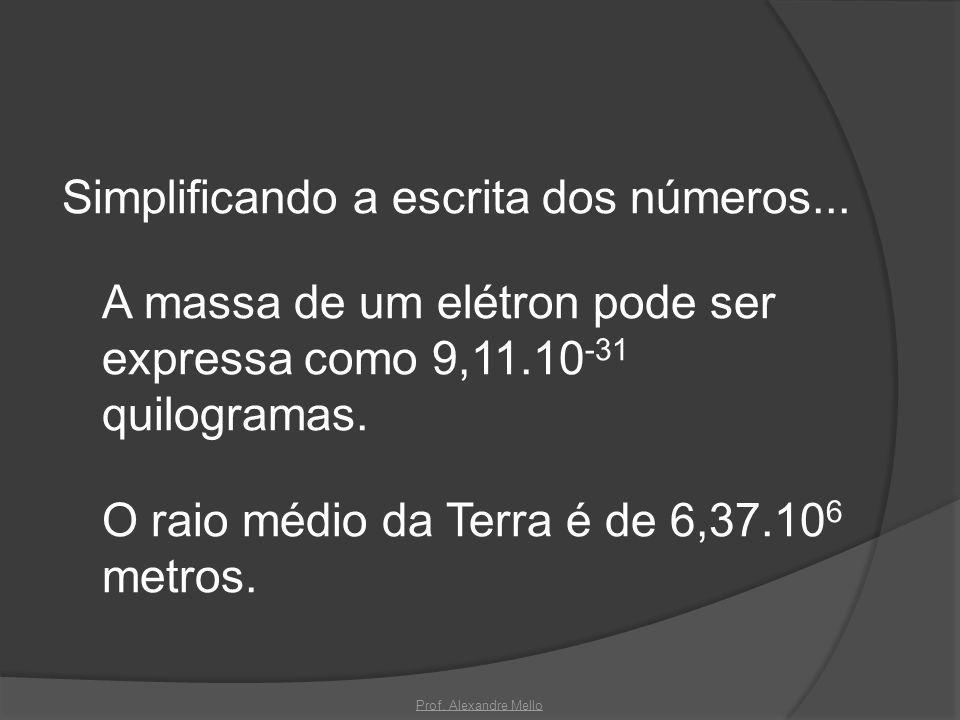 Simplificando a escrita dos números... A massa de um elétron pode ser expressa como 9,11.10 -31 quilogramas. O raio médio da Terra é de 6,37.10 6 metr