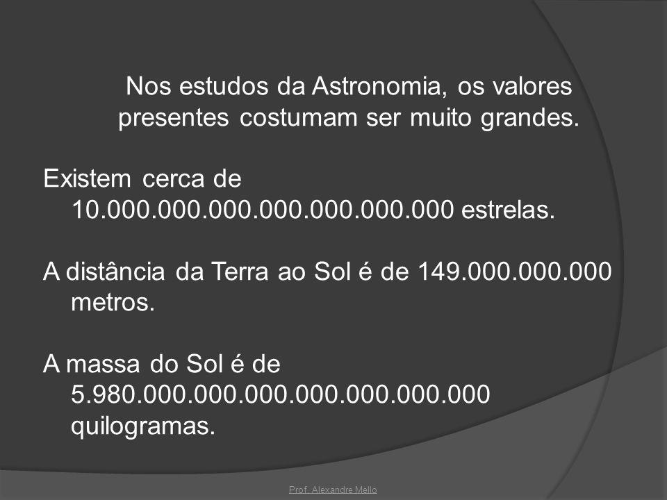 Nos estudos da Astronomia, os valores presentes costumam ser muito grandes. Existem cerca de 10.000.000.000.000.000.000.000 estrelas. A distância da T