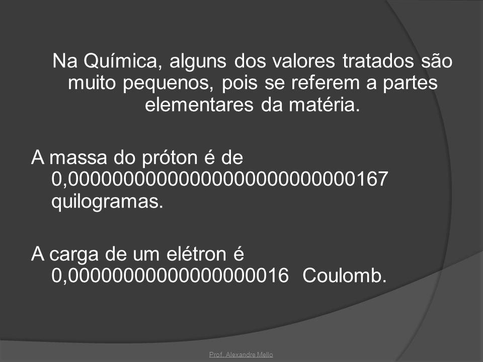 Na Química, alguns dos valores tratados são muito pequenos, pois se referem a partes elementares da matéria. A massa do próton é de 0,0000000000000000