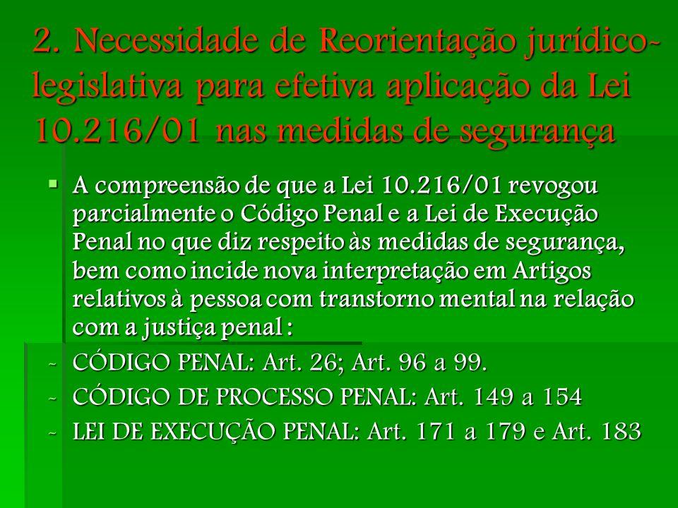 2. Necessidade de Reorientação jurídico- legislativa para efetiva aplicação da Lei 10.216/01 nas medidas de segurança A compreensão de que a Lei 10.21