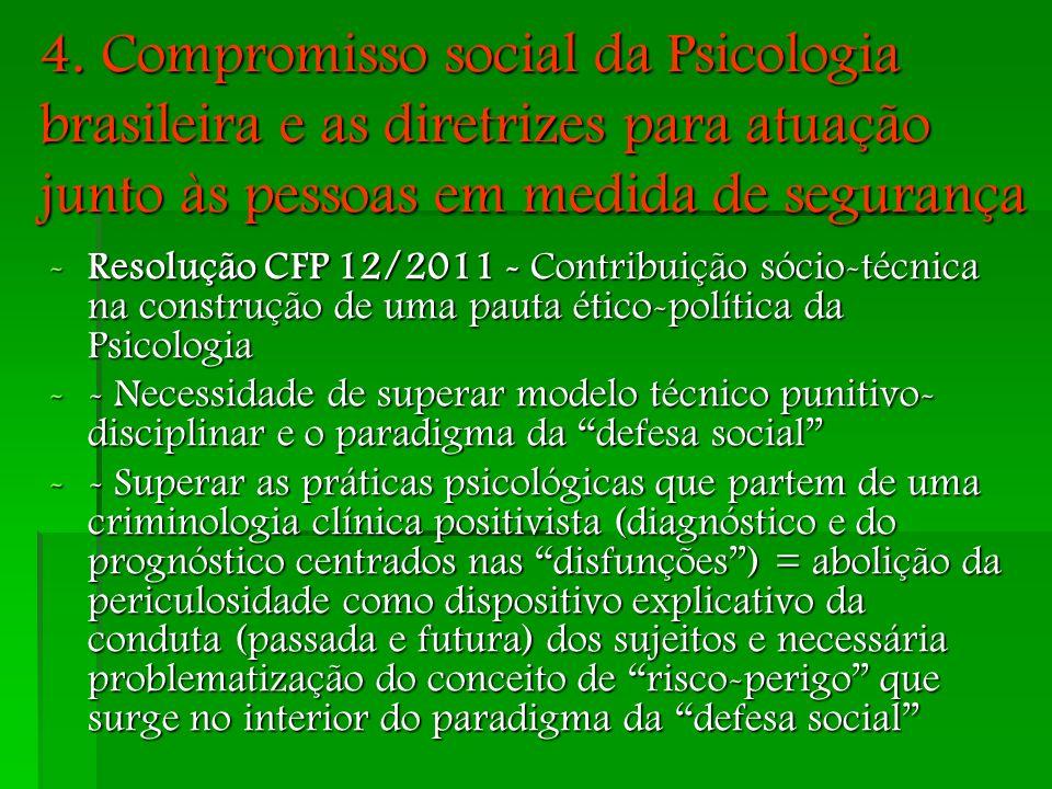 4. Compromisso social da Psicologia brasileira e as diretrizes para atuação junto às pessoas em medida de segurança -Resolução CFP 12/2011 - Contribui