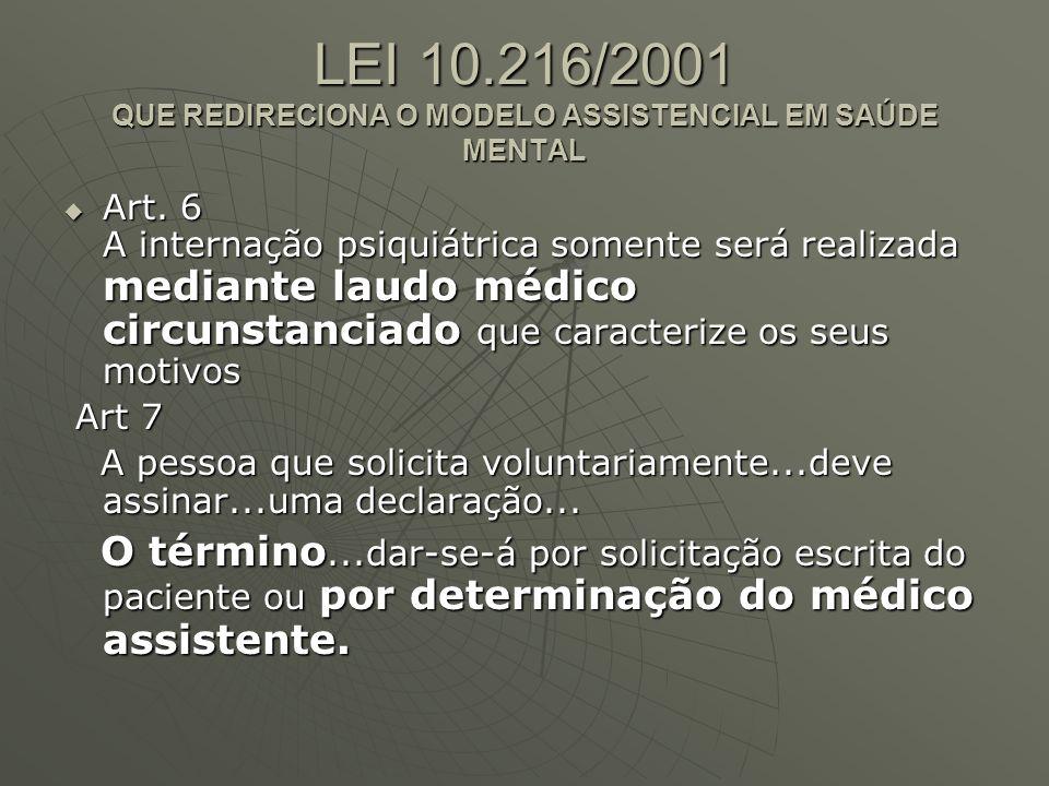 LEI 10.216/2001 QUE REDIRECIONA O MODELO ASSISTENCIAL EM SAÚDE MENTAL Art.