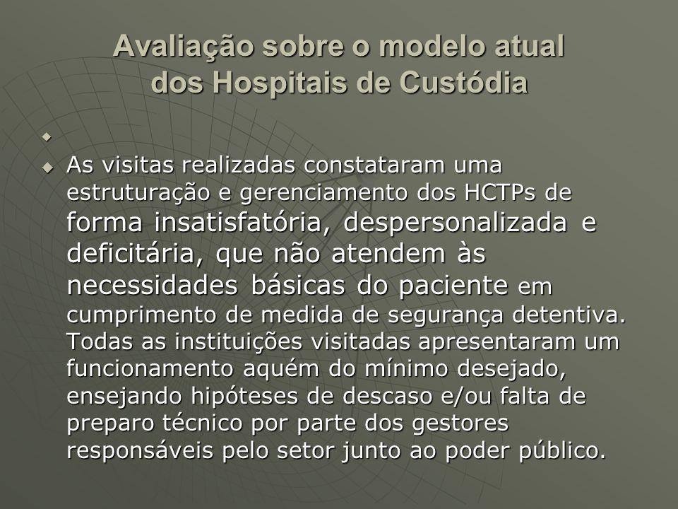 Avaliação sobre o modelo atual Estrutura arquitetônica Estrutura arquitetônica Na maioria dos casos, a organização e disposição dos espaços nos hospitais visitados assemelham-se mais a instituições prisionais do que a estabelecimentos terapêuticos que visem a uma reinserção social.