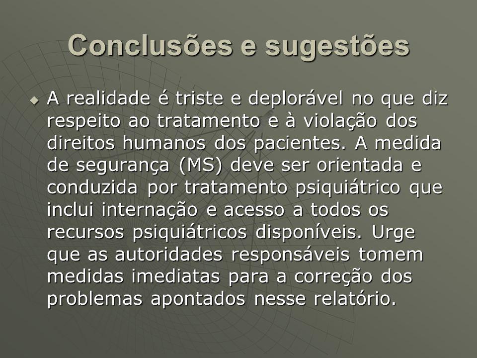 Conclusões e sugestões Os pacientes que cumprem a MS nos HCTPs, por total falta de opção social, acabam permanecendo abrigados, mesmo após serem liberados pela cessação de periculosidade, superlotando a instituição.