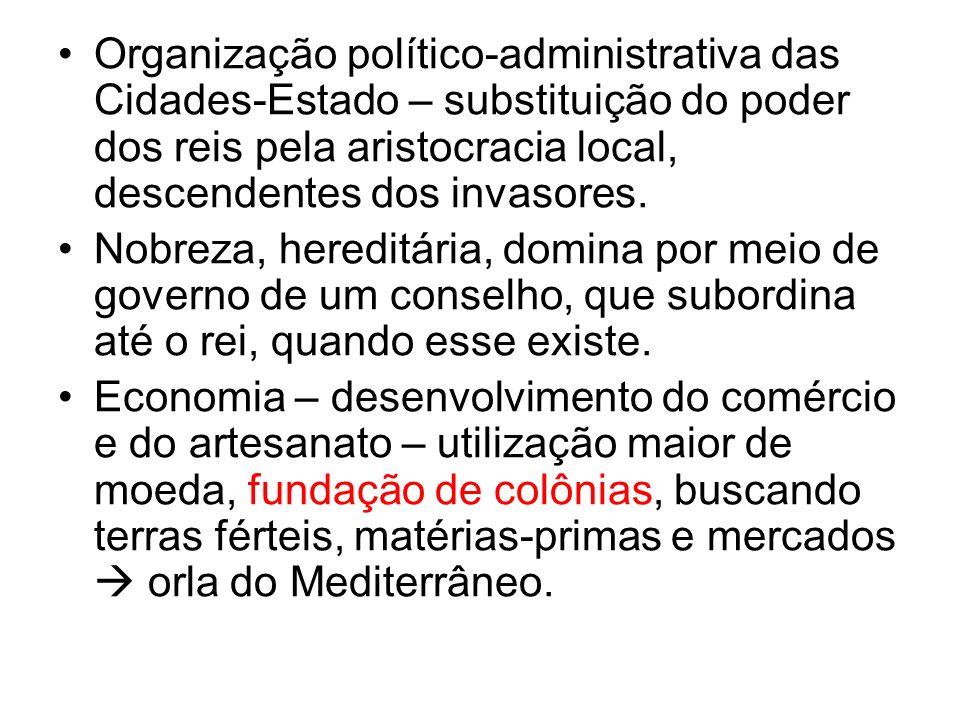 Organização político-administrativa das Cidades-Estado – substituição do poder dos reis pela aristocracia local, descendentes dos invasores. Nobreza,