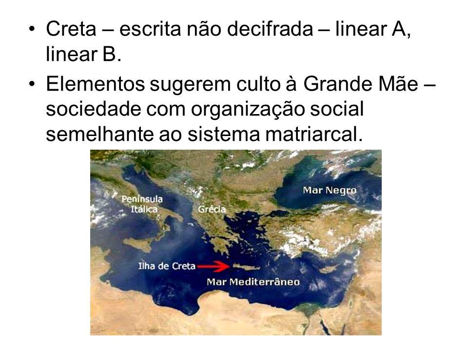 Creta – escrita não decifrada – linear A, linear B. Elementos sugerem culto à Grande Mãe – sociedade com organização social semelhante ao sistema matr