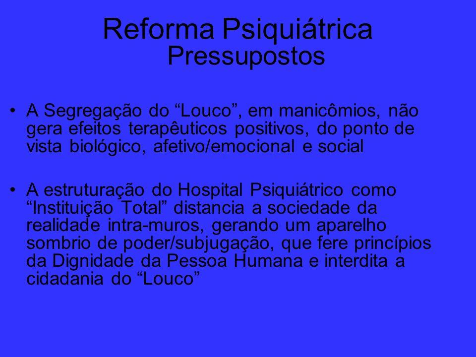 Reforma Psiquiátrica Pressupostos A Segregação do Louco, em manicômios, não gera efeitos terapêuticos positivos, do ponto de vista biológico, afetivo/