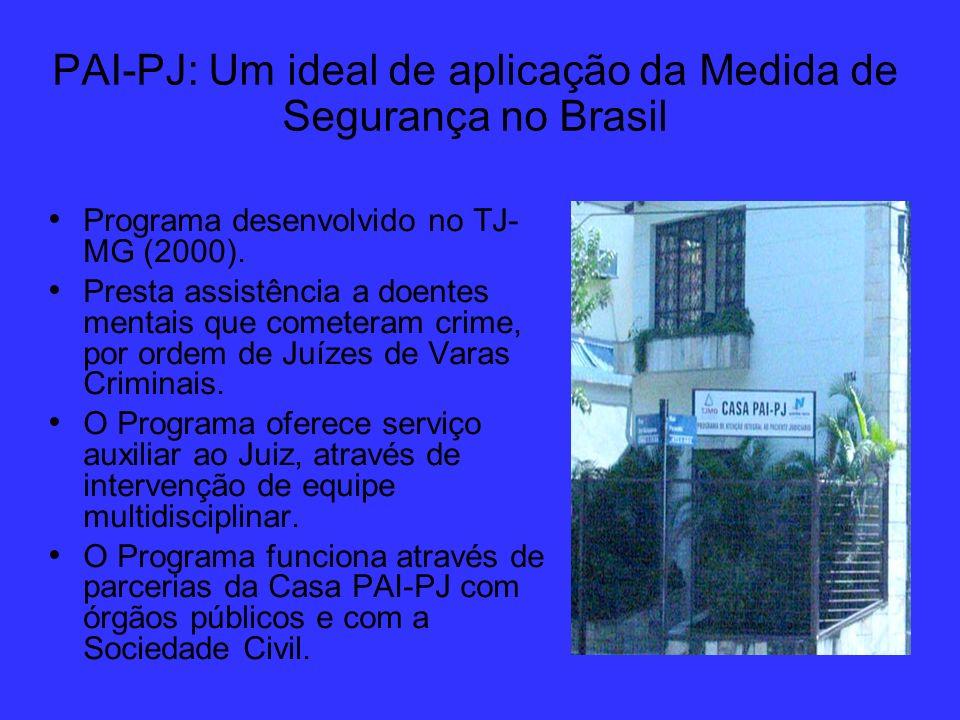 PAI-PJ: Um ideal de aplicação da Medida de Segurança no Brasil Programa desenvolvido no TJ- MG (2000). Presta assistência a doentes mentais que comete