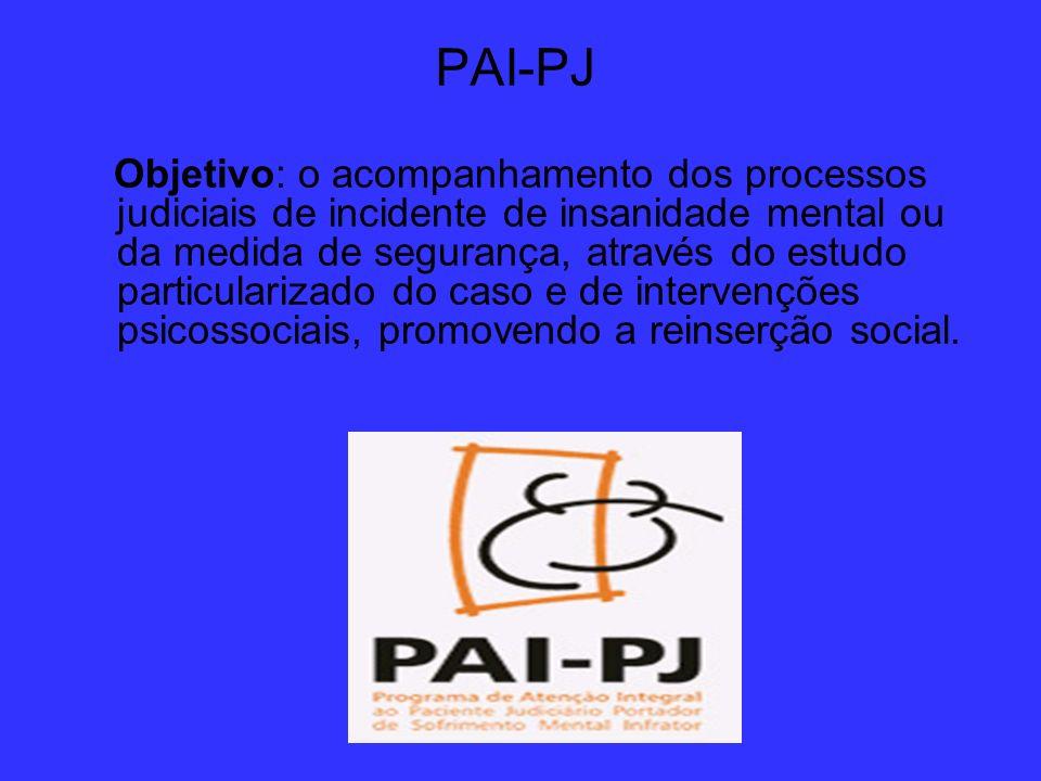 PAI-PJ Objetivo: o acompanhamento dos processos judiciais de incidente de insanidade mental ou da medida de segurança, através do estudo particulariza