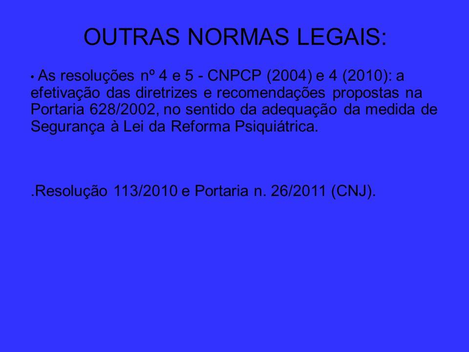 OUTRAS NORMAS LEGAIS: As resoluções nº 4 e 5 - CNPCP (2004) e 4 (2010): a efetivação das diretrizes e recomendações propostas na Portaria 628/2002, no