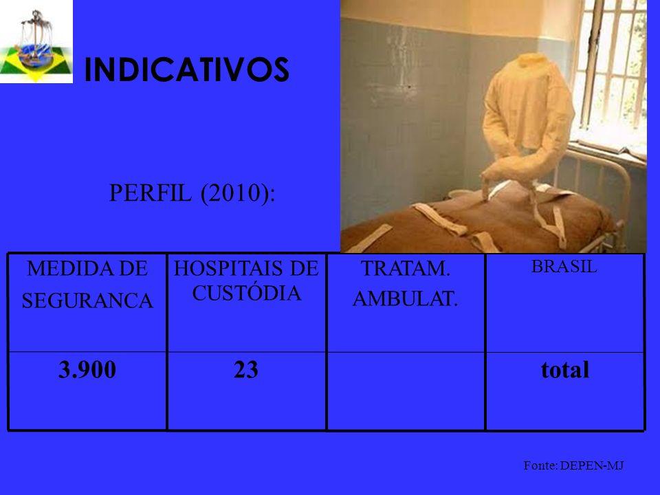 INDICATIVOS total233.900 BRASIL TRATAM. AMBULAT. HOSPITAIS DE CUSTÓDIA MEDIDA DE SEGURANCA Fonte: DEPEN-MJ PERFIL (2010):