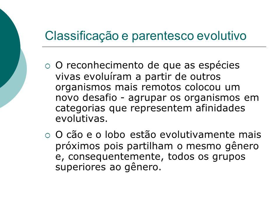 Classificação e parentesco evolutivo O reconhecimento de que as espécies vivas evoluíram a partir de outros organismos mais remotos colocou um novo desafio - agrupar os organismos em categorias que representem afinidades evolutivas.