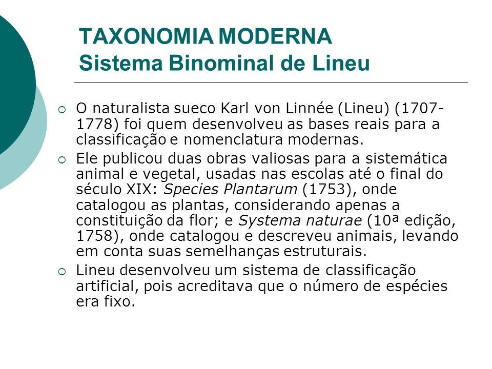 TAXONOMIA MODERNA Sistema Binominal de Lineu O naturalista sueco Karl von Linnée (Lineu) (1707- 1778) foi quem desenvolveu as bases reais para a classificação e nomenclatura modernas.