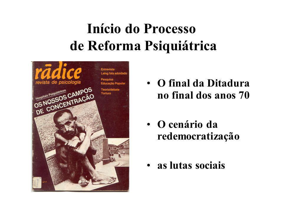 Início do Processo de Reforma Psiquiátrica O final da Ditadura no final dos anos 70 O cenário da redemocratização as lutas sociais