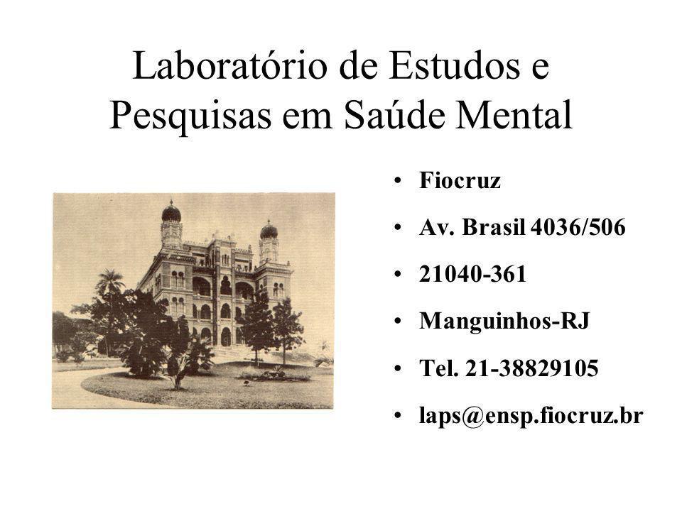 Laboratório de Estudos e Pesquisas em Saúde Mental Fiocruz Av. Brasil 4036/506 21040-361 Manguinhos-RJ Tel. 21-38829105 laps@ensp.fiocruz.br