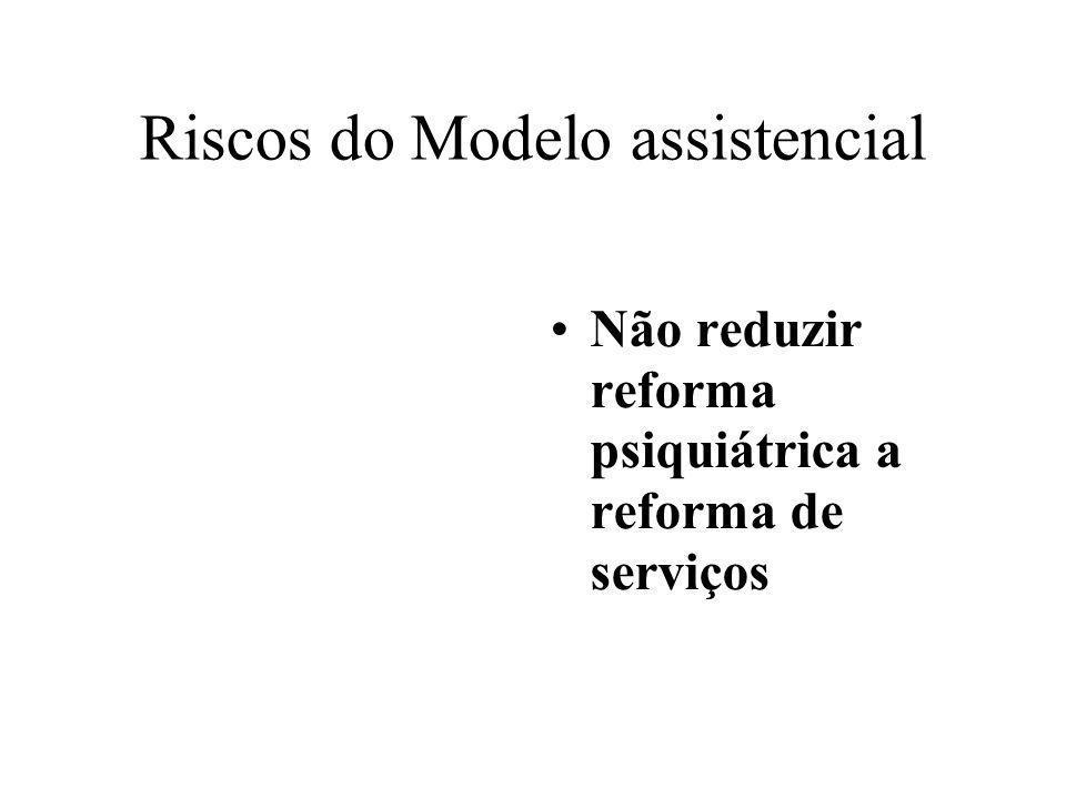Riscos do Modelo assistencial Não reduzir reforma psiquiátrica a reforma de serviços