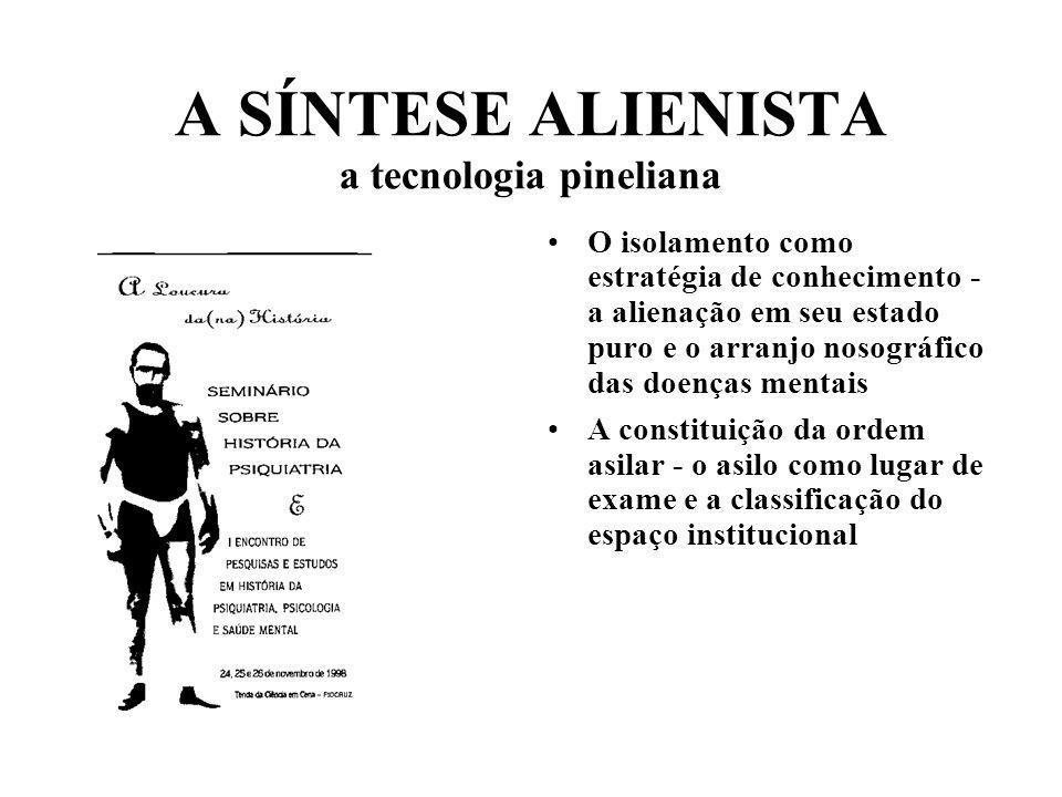 A SÍNTESE ALIENISTA a tecnologia pineliana O isolamento como estratégia de conhecimento - a alienação em seu estado puro e o arranjo nosográfico das d
