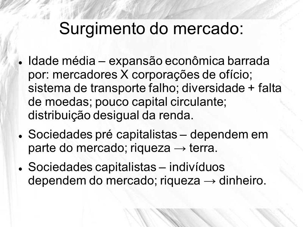Surgimento do mercado: Idade média – expansão econômica barrada por: mercadores X corporações de ofício; sistema de transporte falho; diversidade + fa