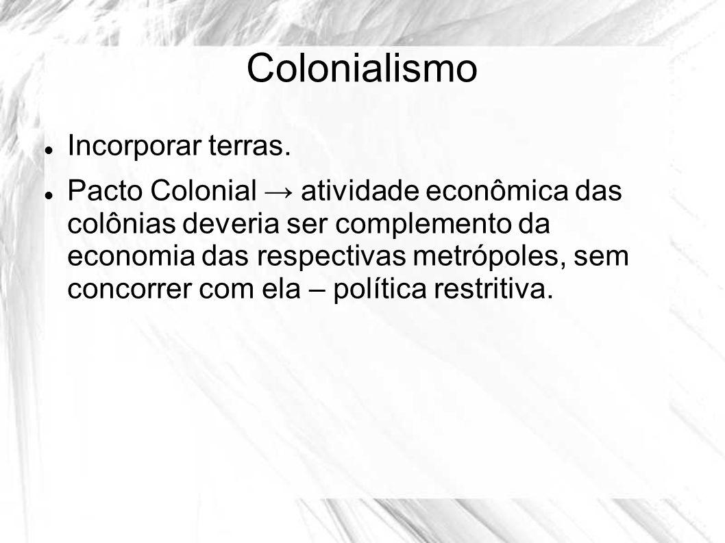 Colonialismo Incorporar terras. Pacto Colonial atividade econômica das colônias deveria ser complemento da economia das respectivas metrópoles, sem co
