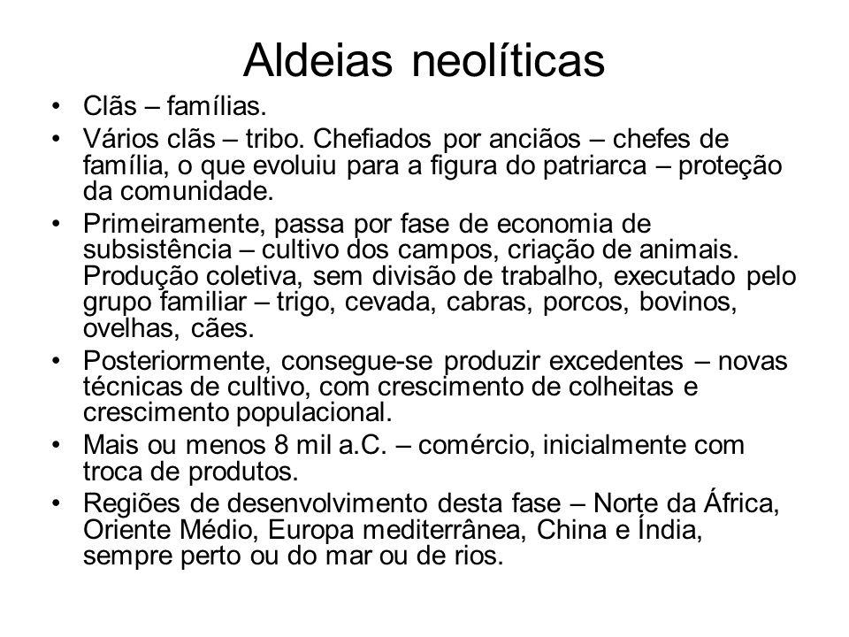 Aldeias neolíticas Clãs – famílias. Vários clãs – tribo. Chefiados por anciãos – chefes de família, o que evoluiu para a figura do patriarca – proteçã