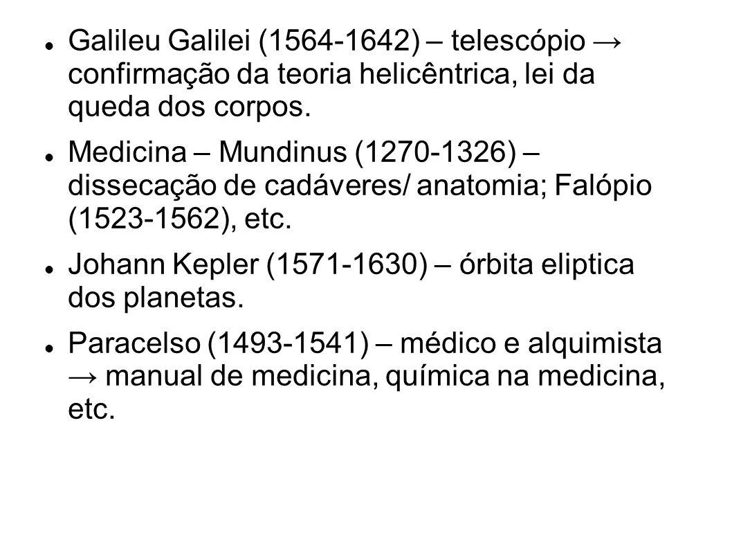 Galileu Galilei (1564-1642) – telescópio confirmação da teoria helicêntrica, lei da queda dos corpos.