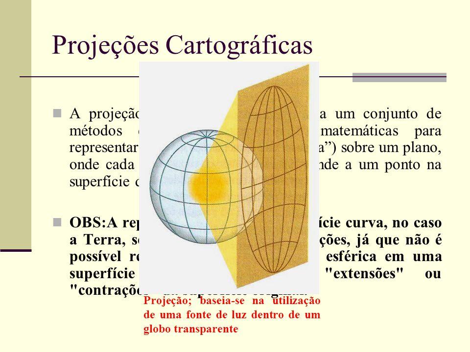 Projeções Cartográficas A projeção cartográfica corresponde a um conjunto de métodos empregados e relações matemáticas para representar a superfície t