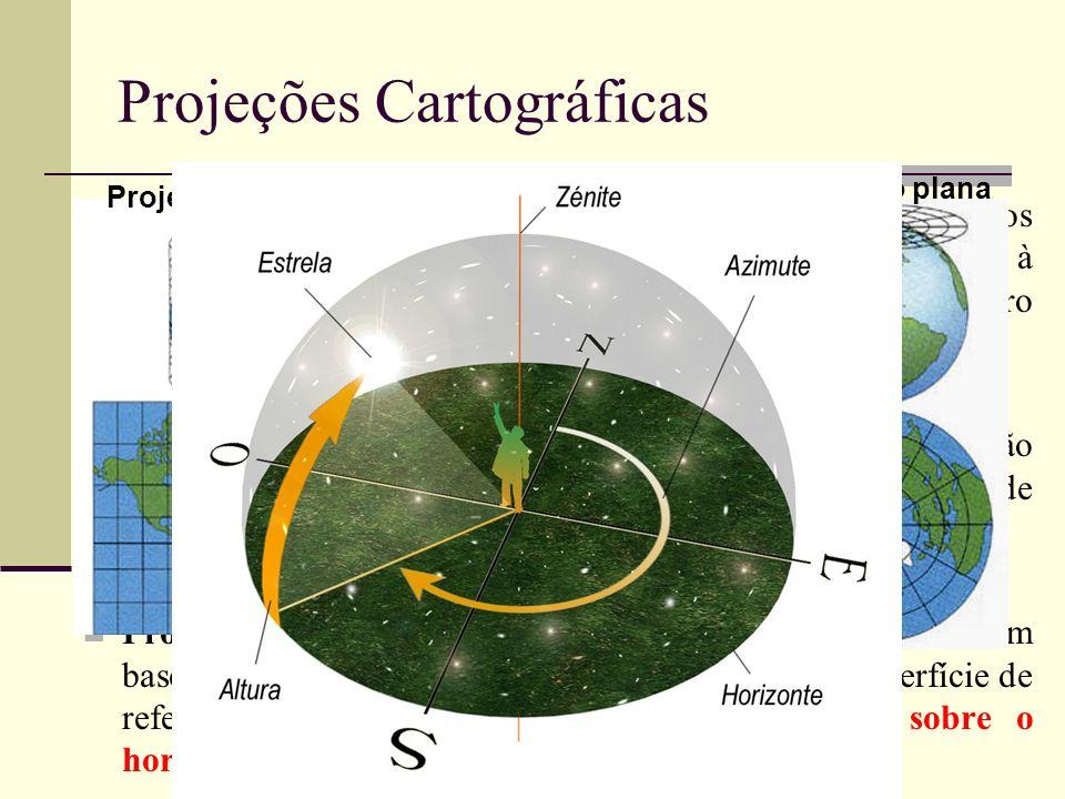 Projeção cilíndrica - a projeção dos meridianos e paralelos geográficos é feita num cilindro tangente, ou secante, à superfície de referência, desenvo