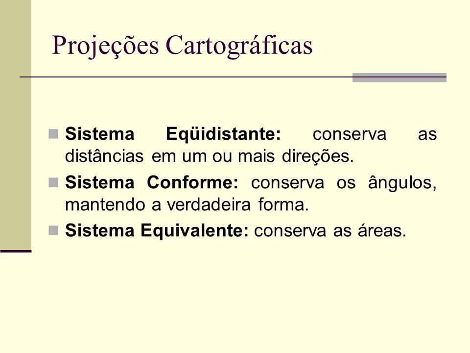 Sistema Eqüidistante: conserva as distâncias em um ou mais direções. Sistema Conforme: conserva os ângulos, mantendo a verdadeira forma. Sistema Equiv